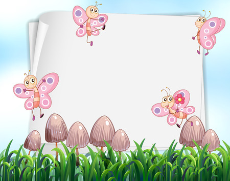 butterfly stationary: Paper design with butterflies flying in garden illustration Illustration
