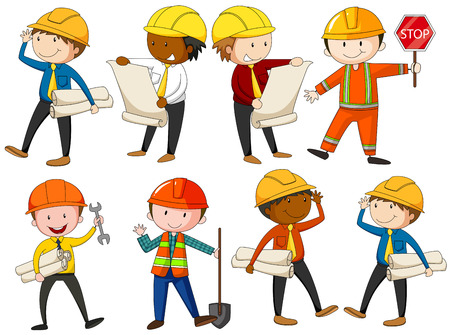 construction workers: Set of engineers and construction workers illustration