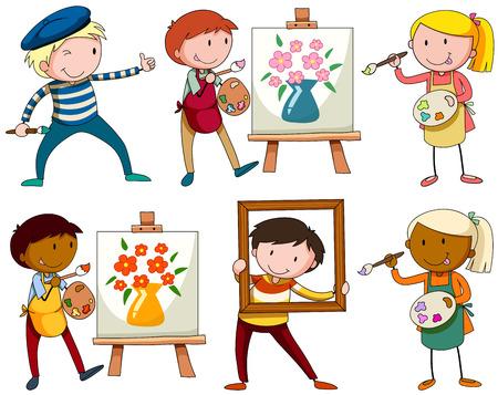 artworks: Set of people doing artworks illustration
