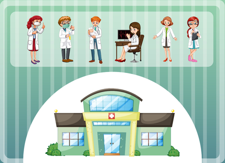hospital gown: Doctors working in hospital illustration