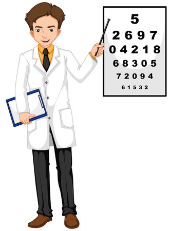 ophthalmologist: Ophthalmologist pointing at the reading chart illustration
