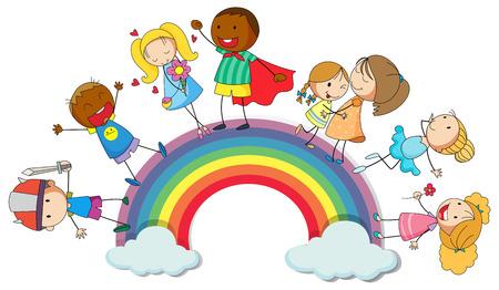 Niños felices standin en la ilustración del arco iris