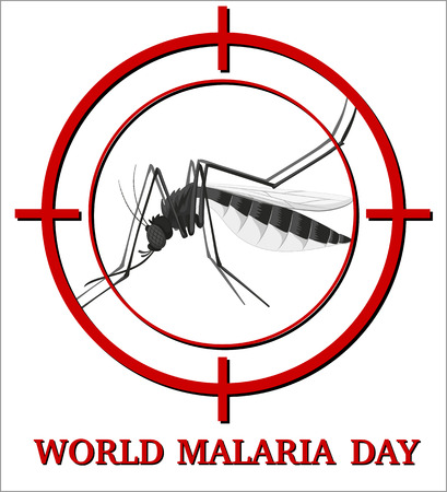 malaria: World malaria day sign with mosquito in focus illustration Illustration