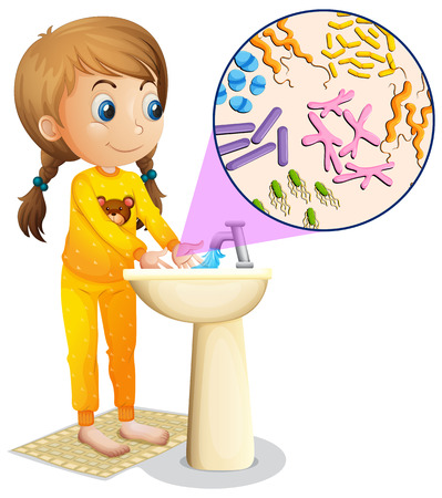 Girl washing hands in the sink illustration Vectores
