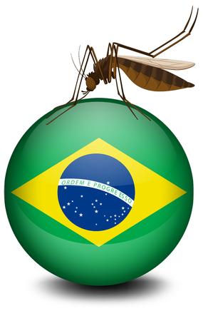 dengue: Brazil flag on ball and mosquito illustration Illustration
