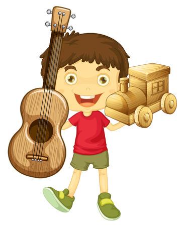 juguetes de madera: Niño pequeño que sostiene la ilustración juguetes de madera