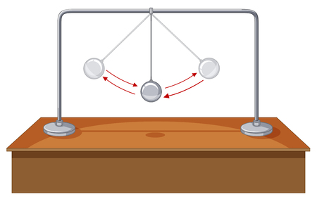 to gravity: Gravity ball swinging on table illustration