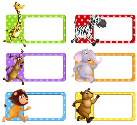 Wilde dieren op vierkante labels illustratie