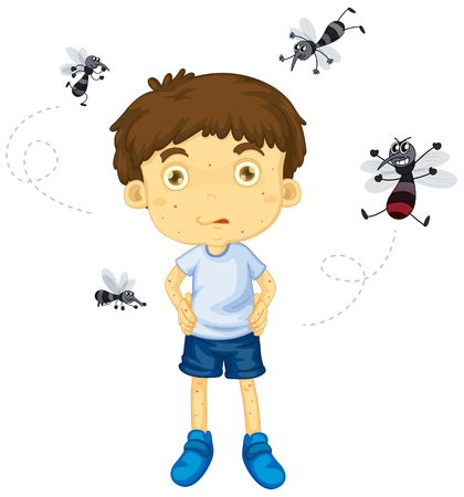 biting: Mosquitos biting little boy illustration