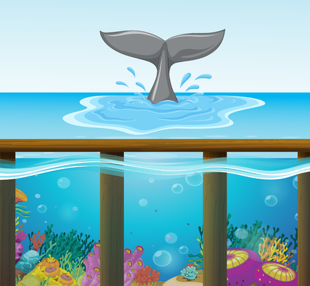 Ocean scene with dolphin tail illustration
