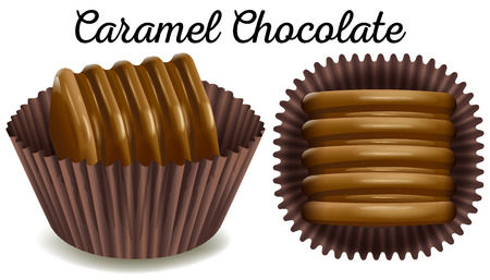 Caramel chocolate in brown cup illustration