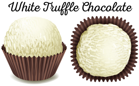 truffe blanche: White truffle chocolate in brown cup illustration