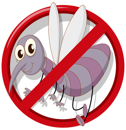 Pest control sign no mosquito illustration