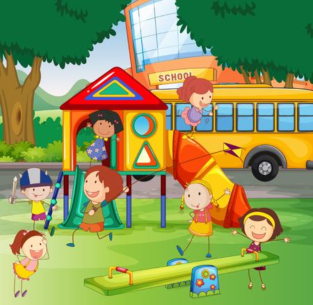 school playground: Children playing in the school playground illustration