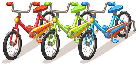bike parking: Three bicycles in different colors illustration