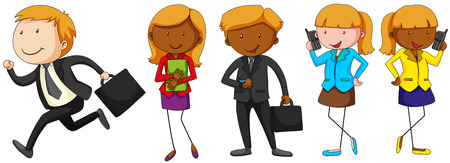woman on phone: Businessman and woman with phone illustration Illustration