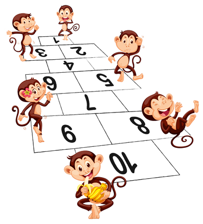 numbers clipart: Six monkeys playing hopscotch illustration
