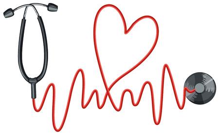 Estetoscopio y la ilustración gráfica de los latidos del corazón