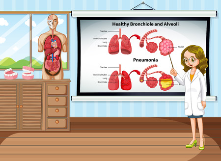 lung disease: Doctor explaining lung disease in the room illustration
