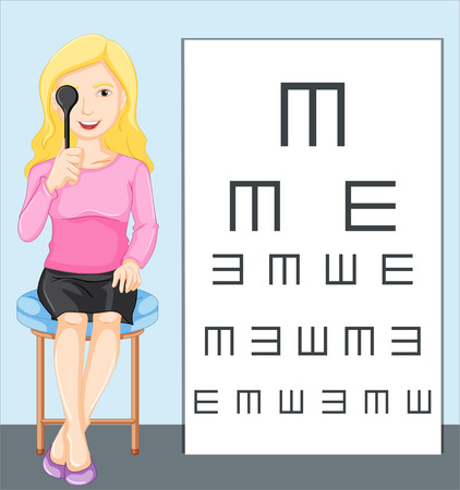 eye patch: Woman holding eye patch and reading from chart illustration