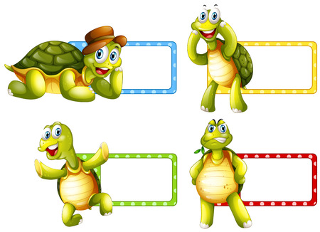icon series: Lable design with green turtles illustration