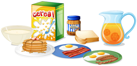 Many kinds of food for breakfast illustration