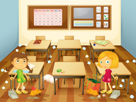 dirty room: Two students cleaning the classroom illustration Illustration
