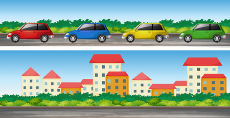cars on road: Cars on the road and many buildings illustration