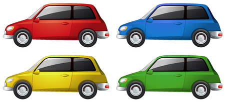car drawing: Cars in four different colors illustration