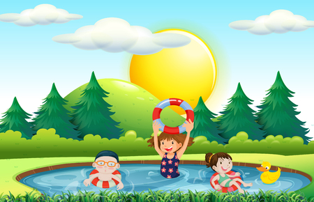 children pond: Children swimming in the pool illustration Illustration