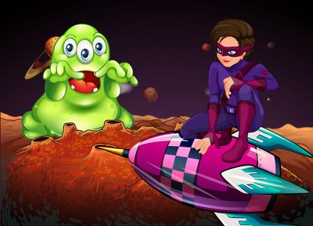 Superhero fighting alien on red planet illustration Illustration