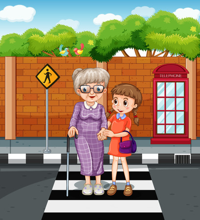 crossing street: Girl and old lady crossing the road illustration
