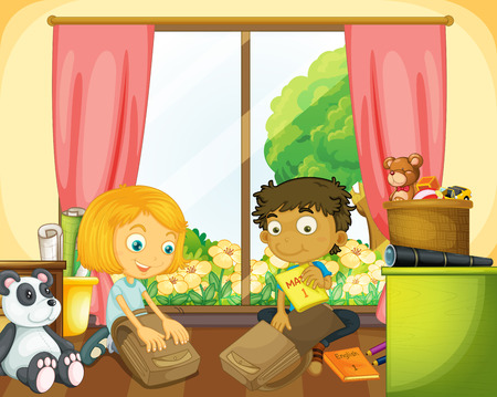 packing: Two kids packing schoolbag in the house illustration