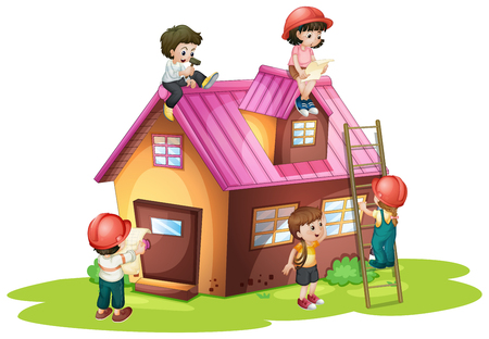 house building: Children fixing and building house illustration