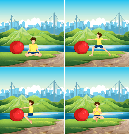 Man doing yoga with big ball in park illustration
