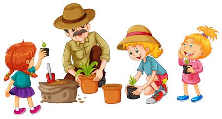 sembrando un arbol: Las niñas y la ilustración de plantación de árboles padre Vectores