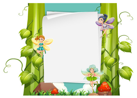 fantacy: Paper design with fairies flying illustration