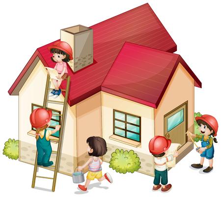 constructing: Many children constructing the house illustration
