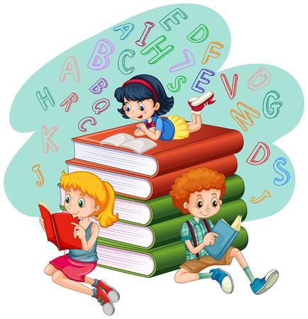 libraries: Three kids reading books illustration