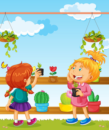 two girls: Two girls and many flower pots illustration