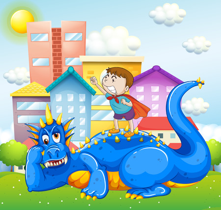 Boy and blue dragon in the park illustration