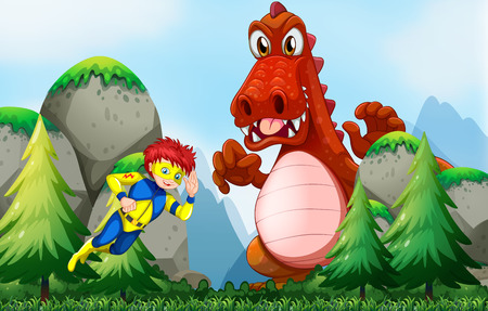 role model: Superhero fighting dragon in the field illustration Illustration