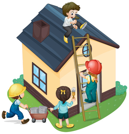 children painting: Children painting and fixing the house illustration Illustration