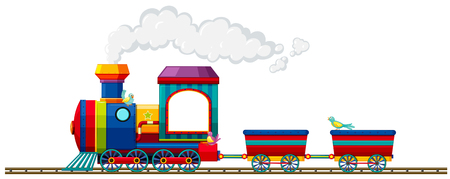 vehicle track: Train riding on the track illustration