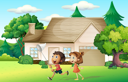 catching: Kids catching butterfly in garden illustration