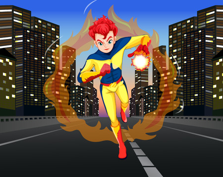 art background: Superhero on the road in the city illustration