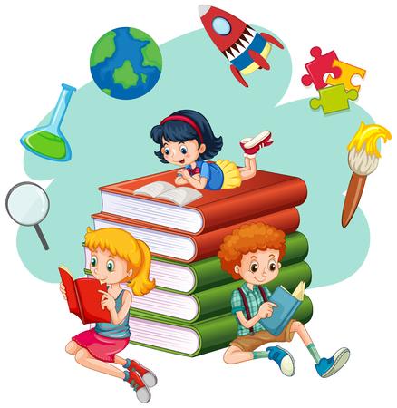 Three kids reading books illustration Vektorové ilustrace