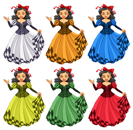 actresses: Woman in different color dress illustration