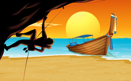 rock climber: Scene with rock climber and beach illustration