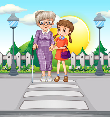 zebra crossing: Girl helping old woman crossing the road illustration